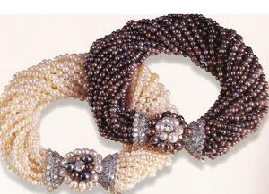 Black and white torsade bracelets