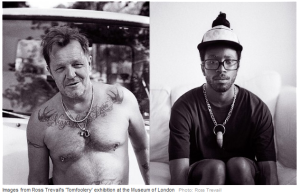 """Photos of men wearing """"tom"""" - pieces of jewelry."""