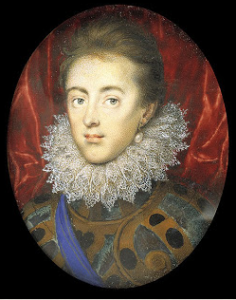 Charles I at 15 years wearing pearl earring.