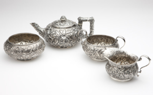 Repousee sterling silver tea set